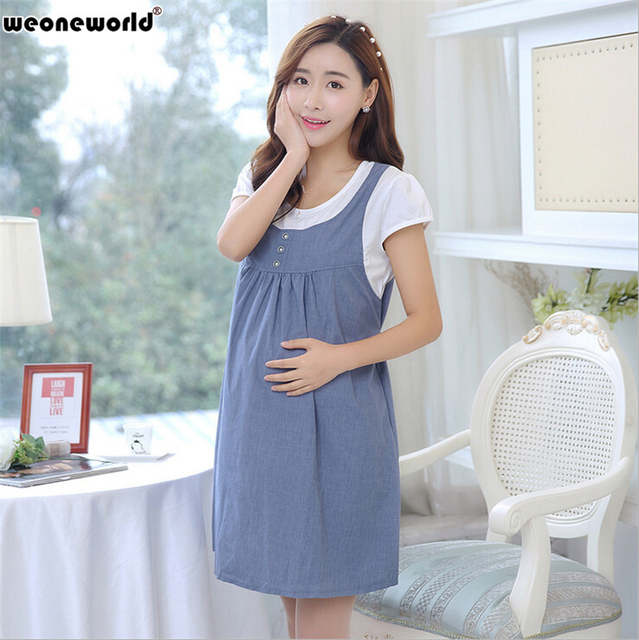 4038579d08a placeholder WEONEWORLD Fake 2 pieces Cotton Summer New Fashion Pregnant  Dress Casual Pregnancy Clothes For Pregnant Women