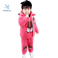 Newborn Baby Girls Winter Clothes Cotton Hoodies Toddler Girl Clothing Kids Sets 3Pcs Bear Printing Warm