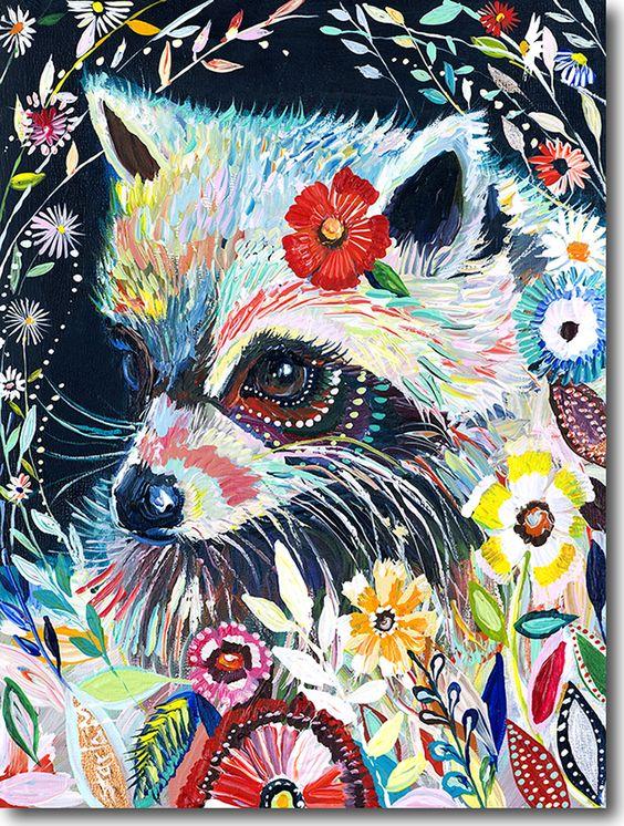 ④Alta calidad multicolora abstracta pintada a mano mapache aceite ...