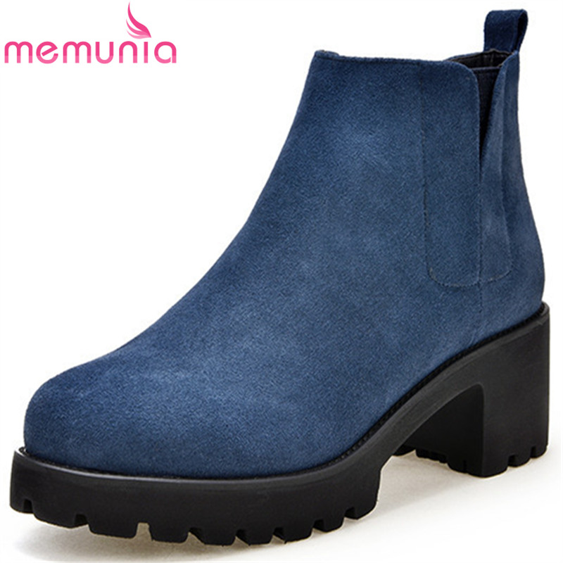 MEMUNIA Platform boots female cow suede ankle boots for women solid spring autumn high heels shoes fashion boots size 34-40 morazora ankle boots for women fashion shoes woman cow suede leather boots solid zipper platform womens boots size 34 40