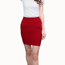 High Waist Summer Tutu Pleated skirt Candy Color Women short Skirt Bottom Hip mini A-Line chiffon Bandage Pencil One step skirt