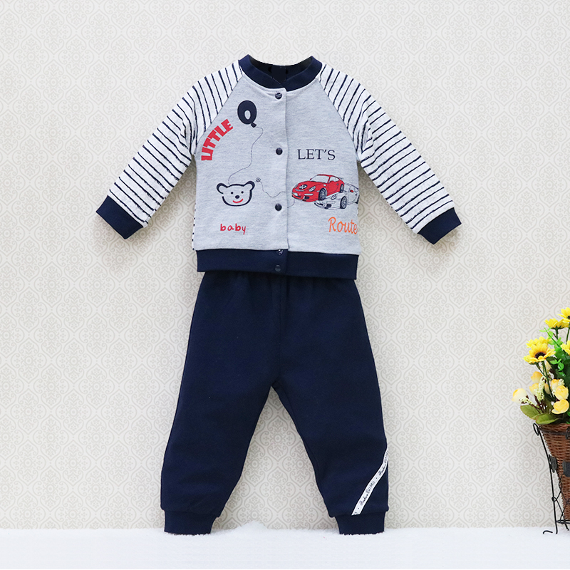 2017 Little Q Long Sleeve  Baby Boys Pure Cotton Long Sleeve Blouse+Long pants Clothing Set O neck Fashion Kids Clothes Outfits long long