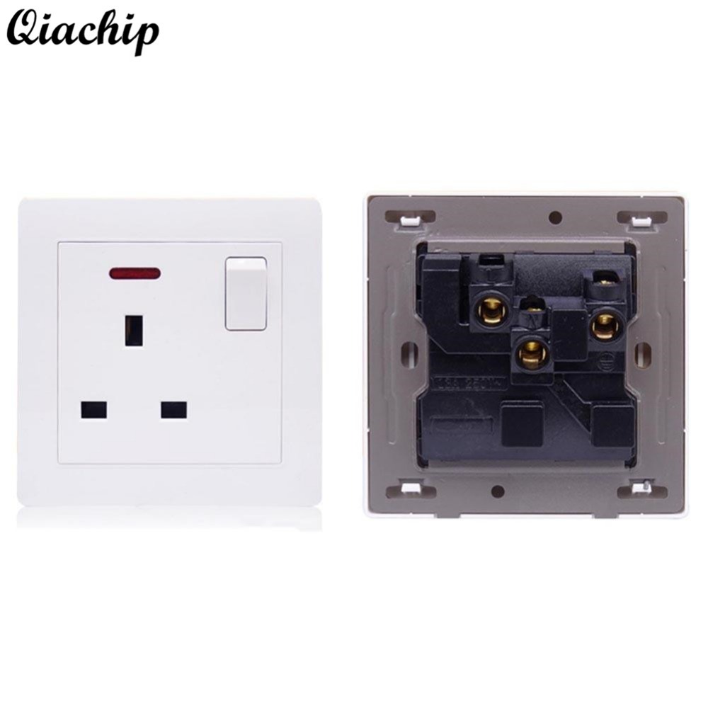 QIACHIP UK Plug AC 110V 220V 16A Power Socket Switch White Crystal Glass Panel Wall Light Socket Power Outlet Push Button Switch suck uk