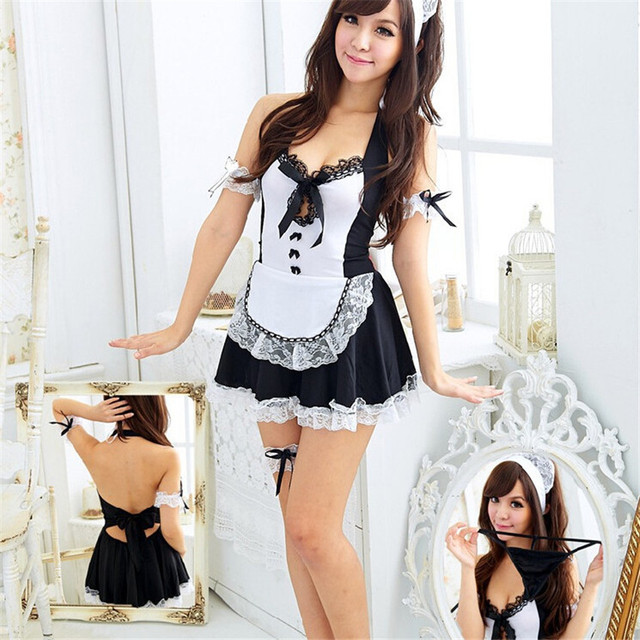 A new explosion lady lingerie lace Halter maid lounge princess costumes sexy nightgown Sexy lingerie AQ104