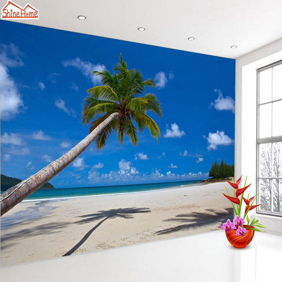 ShineHome-Sandbeach Coconut Tree 3d Room Wallpapers 3d for Walls 3 d Living Room Wallpapers Mural Roll Wall Paper Home Covering shinehome rose bloom floral wallpaper for 3d rooms walls wallpapers for 3 d living room wall paper murals wallpaper mural roll