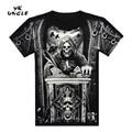 TIO YK Marca 2016 Estilo Verão T-Shirt Dos Homens 3D camiseta Camisa dos homens Chineses Dragão Crânio Águia Impressa Tee Aptidão Rocha T camisa