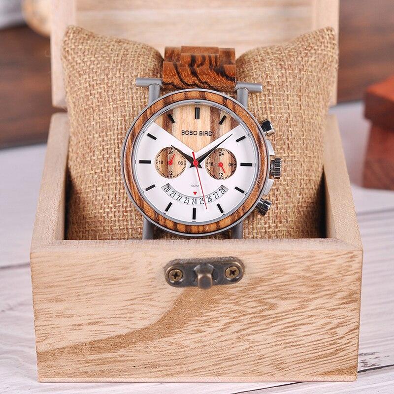 BOBO oiseau en bois hommes montre en acier inoxydable étanche montre-bracelet avec Date et plusieurs fuseaux horaires reloj hombre hommes cadeau W-R06 - 6