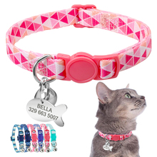 Cat Collar Personalized Quick Release Safety Kitten Breakaway Necklace Customized Fish ID Tag Name With Bell
