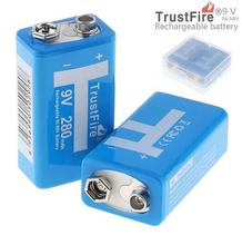 8pcs/lot Trustfire 9V Rechargeable Battery with 1200 Cycle 280mAh Ni-MH Plastic Storage Box For Microphone/Detector