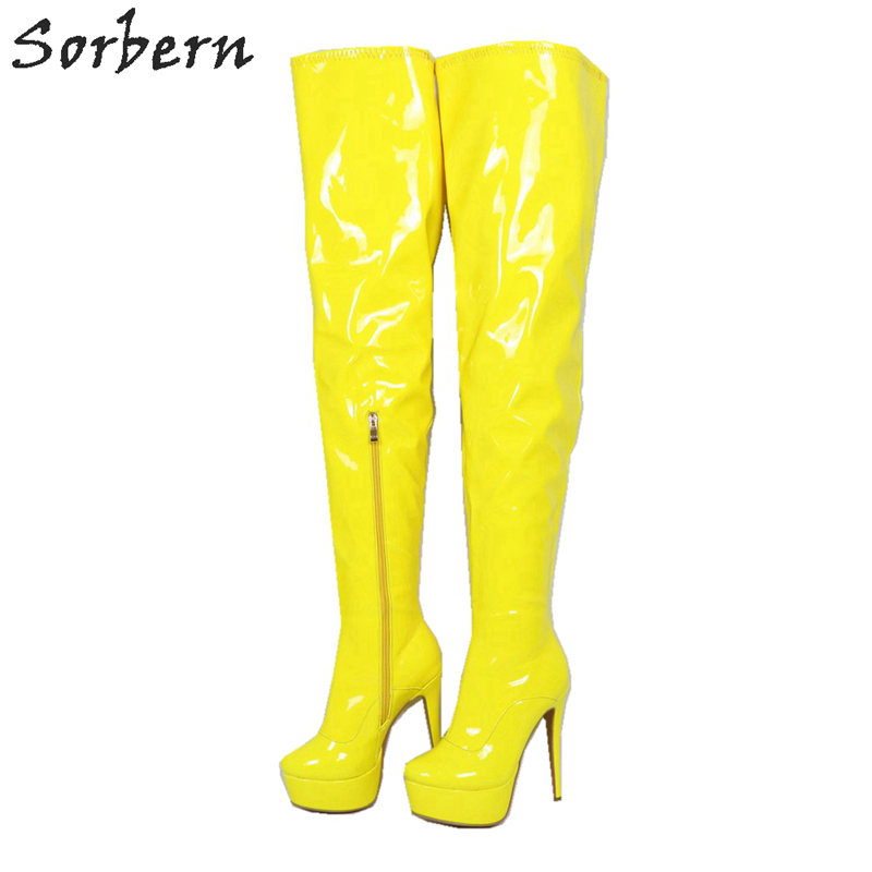 Sorbern Bright Yellow Over The Knee Boots For Women High Heel Platform Stilettos Winter Style Mid Thigh High Boot Female Shoes