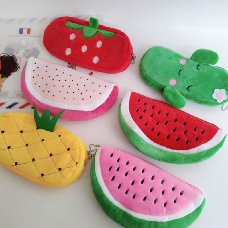 1 Pcs Kawaii Fruit Watermelon Orange Pineapple Cactus Plush Pencil Case Cosmetic Bag Pen Box Girls Gift Stationery Pencil Bags
