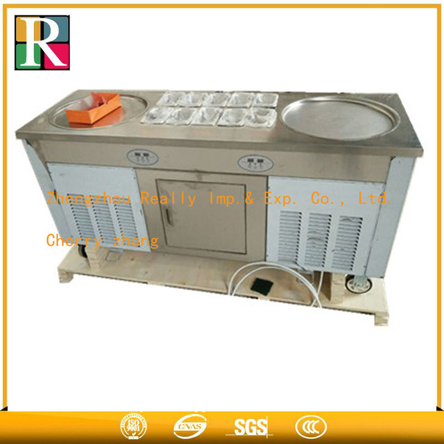US $1470 0  Shipping by sea Double round pan Thailand ice cream roll  machine,ice pan machine for rolled ice cream MODEL RE 2+10-in Ice Cream  Makers