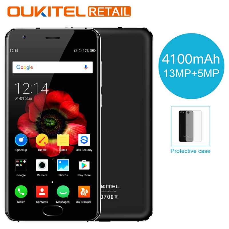 OUKITEL K4000 Plus 5.0'' MT6737 Quad Core Android 6.0 Smartphone 2GB RAM 16GB ROM 4100mAh 13MP Fingerprint 4G LTE Mobile Phone