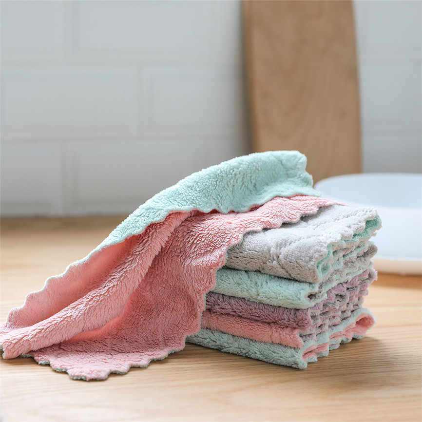 Kitchen Towel Cleaning Cloth Nonstick Oil Coral Velvet Hanging Hand Towels Dishclout Washing Windows Car Floor Home Clean J#3