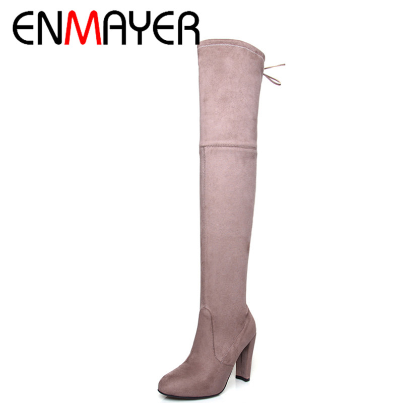 ФОТО ENMAYER New Fashion High Heels Long Boots Shoes Woman Over-the-knee Lace-up Round Toe 3 Colors Black Shoes Platform Shoes
