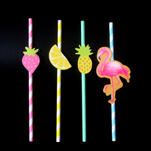 mixed chevron paper straw with glitter flamingo and fruit drinking straws for wedding engagement birthday outdoor - Outdoor Party Supplies