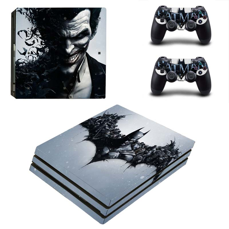Batman Design Vinyl Skin Sticker for Sony PS4 Pro Console and 2 Controllers Decal Cover Game Accessories