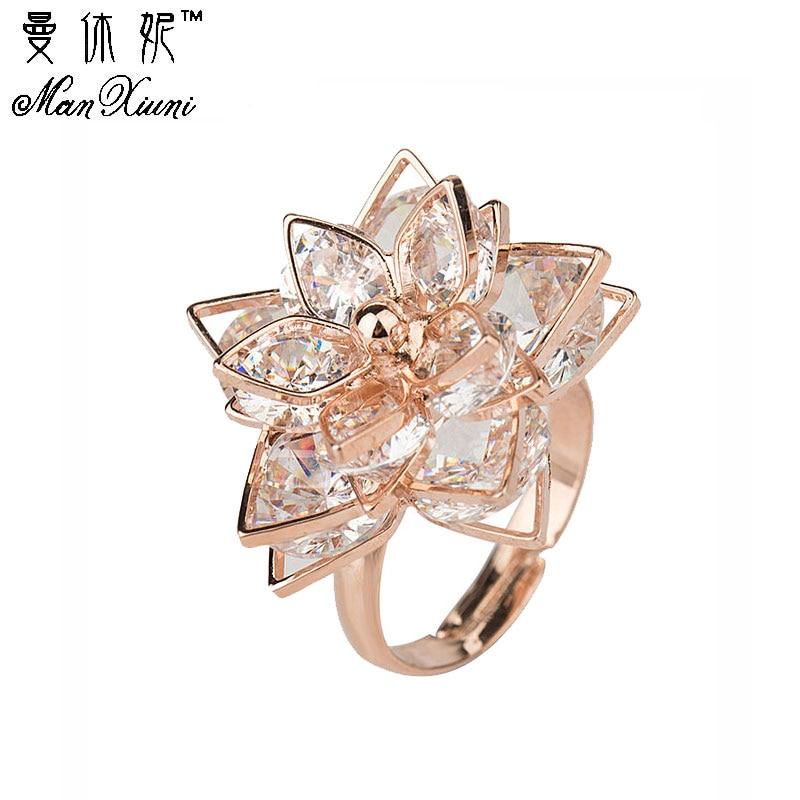 Manxiuni Trendy Women Shiny Cubic zirconia Flower Adjustable Rings Beautiful Golden Petal Wedding Jewelry Rings