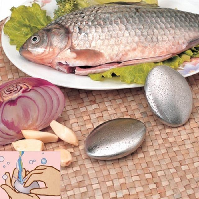 Stainless Steel Soap Oval Shape Chef Soap Deodorize Smell from Hands Bar Magic Eliminating Garlic/onion Smell  1pc 1