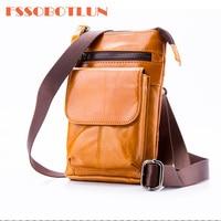 FSSOBOTLUN For iphone X 8 plus 7 plus 6 6s plus Retro oil wax Genuine leather Universal Outdoor Waist Phone Bag Pouch Case Cover