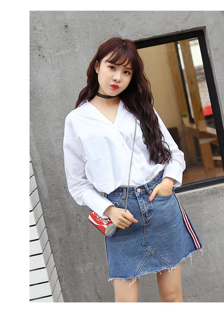 HTB1F4ZBQXXXXXbtXVXXq6xXFXXXB - Denim Skirts Striped Slim A Line High Waist Blue Jeans Skirt PTC 154