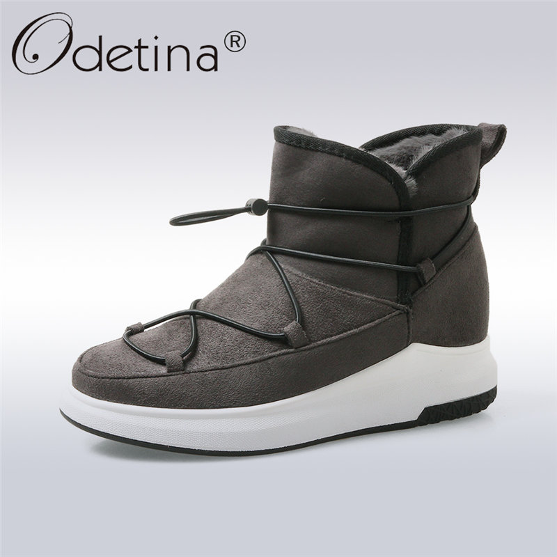 купить Odetina 2017 New Fashion Classic Winter Thick Fur Snow Boots Women Flat Platform Keep Warm Ankle Boots Casual Shoes Big Size 43 дешево