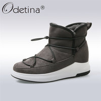Odetina 2017 New Fashion Classic Winter Thick Fur Snow Boots Women Flat Platform Keep Warm Ankle