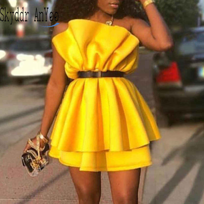 Women Summer Yellow Mini Party Dress Pleated Off Shoulder Blckless Sexy Club Dress Elegant Dinner Evening Tunic Femme Robes