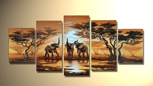 hand-painted  wall art elephant sun home decoration   Abstract landscape oil painting on canvas 5pcs/set mixorde wood Framed