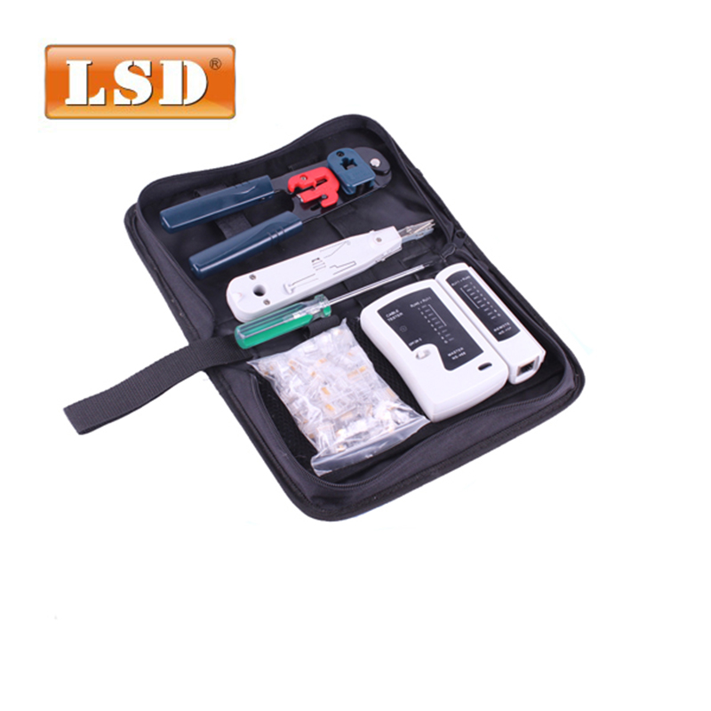 RJ45 crimping tool set LS-K208M including network cable tester Crystal heads and punch down tool pc repair network tool kit ...