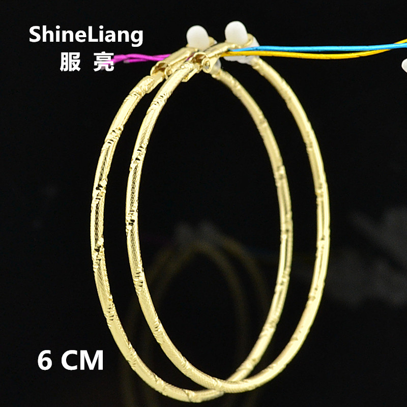 Clip on ear without piercing Big circle ring fashion brand earrings for women female Gold Silver Jewellery Kirsite Thread 60MM