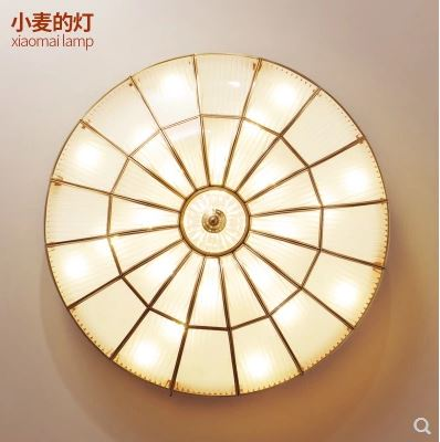 American modern minimalist ceiling lamp copper living room lamp ultra-thin LED round master bedroom lamp hall glass lampsAmerican modern minimalist ceiling lamp copper living room lamp ultra-thin LED round master bedroom lamp hall glass lamps