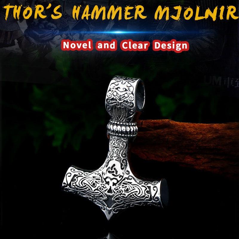 Beier 316L stainless steel Norse Viking Pendant Necklace Thor's Hammer Mjolnir Scandinavian rune odin amulet men jewelry LP384