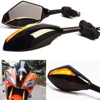 Motorcycle Carbon LED Turn Signals Integrated Rearview Mirrors For Suzuki GSXR SV650S SV650 Hayabusa Bandit For Honda CBR954RR
