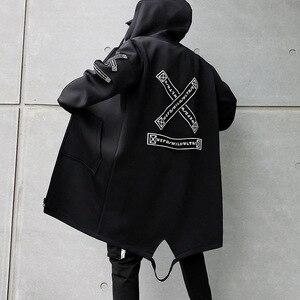 Image 5 - Lungo Degli Uomini del Rivestimento Stampe Di Moda 2019 primavera Harajuku Giacca A Vento Cappotto Maschile Casual Outwear Hip Hop Streetwear Cappotti WG198