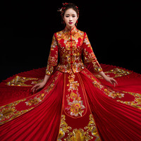 Chinese Traditional Wedding Dress Cheongsam Dragon Phoenix Clothing Qipao Embroidery Rhinestone Tops For Woman Brocade Gown
