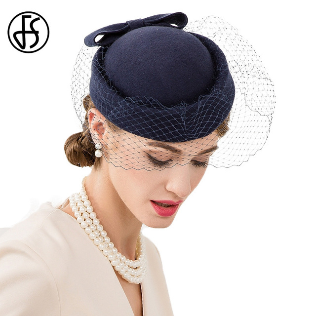 FS Royal Blue Wedding Hats And Fascinators 100% Wool Pillbox Hat With Veils  Elegant Women Bow Millinery Winter Fedoras Ladies 9bd4919073d
