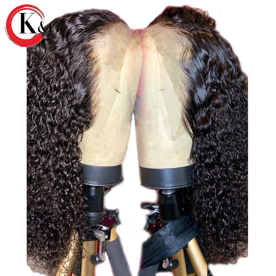 KUNGANG Curly 13 6 Deep Part Lace Front Human Hair Wigs With Baby Hair Pre Plucked