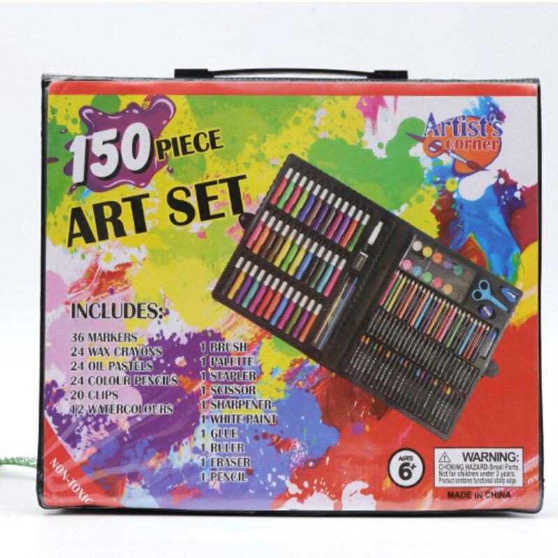 150 ensembles de papeterie ensemble aquarelle stylo ensemble enfants dessin ensemble pastel couleur crayon outils de dessin
