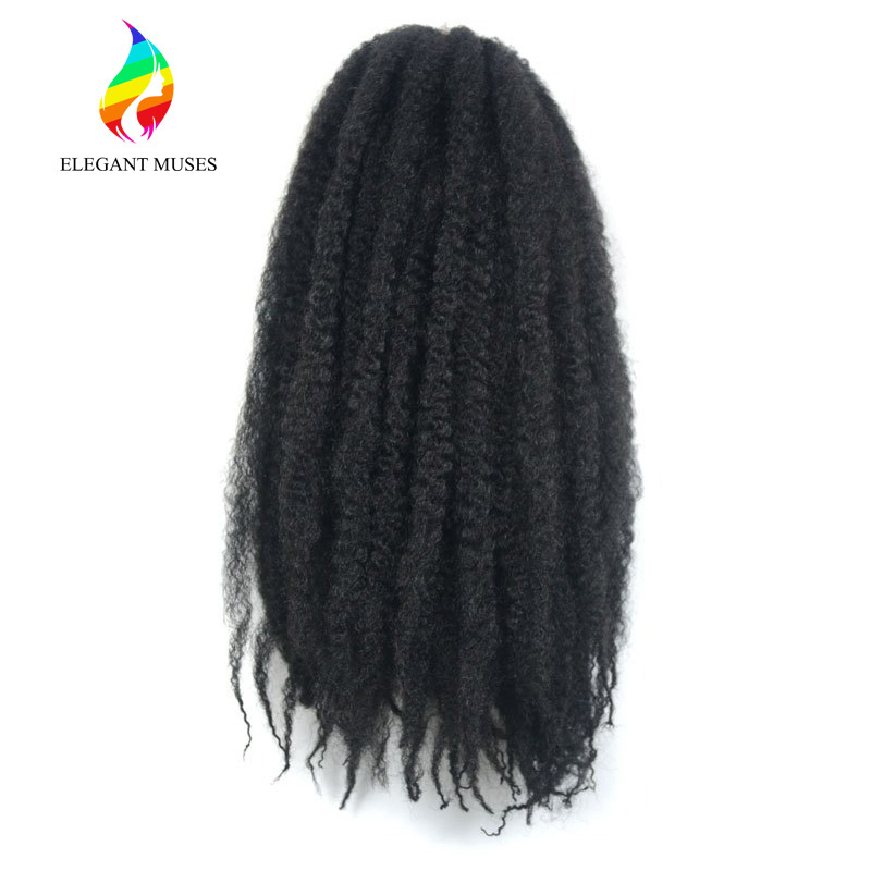 ELEGANT MUSES Products Black Color 100g/pcs Synthetic Crochet Hair Extensions Afro Kinky Marley Braiding Twist Hair