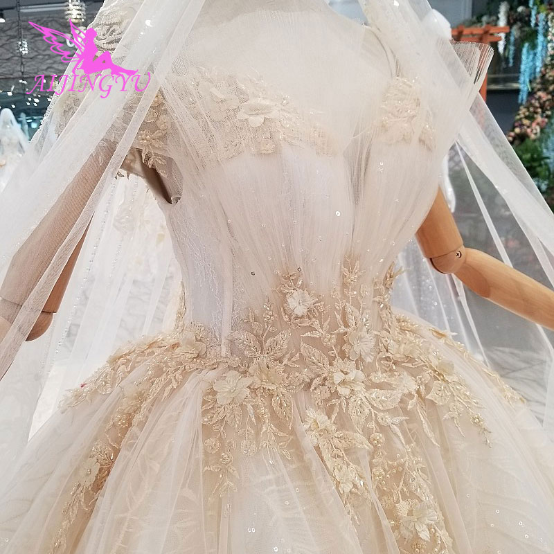 AIJINGYU Silk Wedding Dresses Gowns Sexy 2018 Weeding For Bride White Long Sleeve Luxury Coutures Gown
