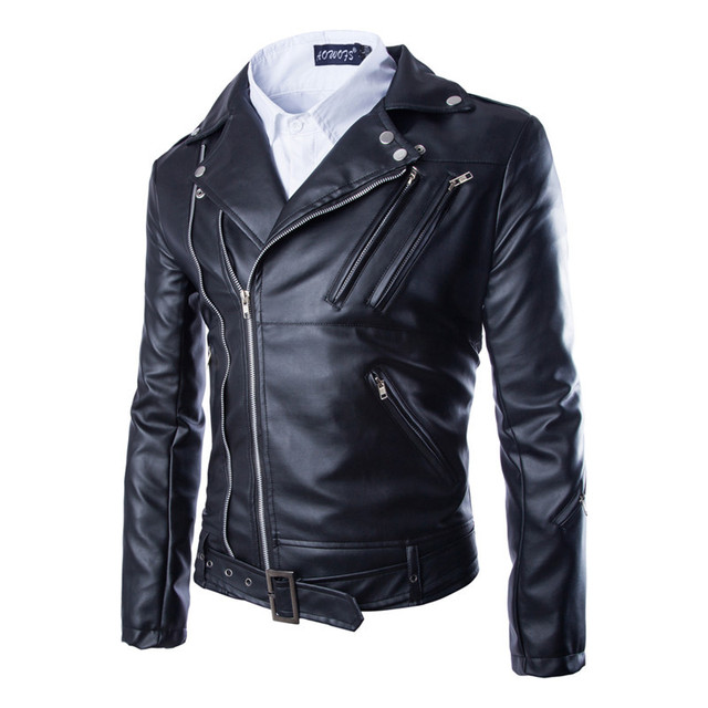 Slim Fit Leather Jackets For Men Bomber Coat Riding Jacket Faux Cowskin Motorcycle Clothing Multi-zipper Black Rock New Design
