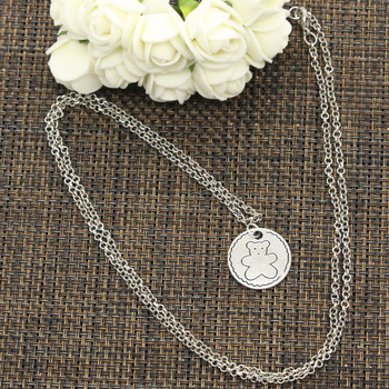 New Fashion Circle Bear Pendants Round Cross Chain Short Long Mens Womens DIY Silver Color Necklace Jewelry Gift 4