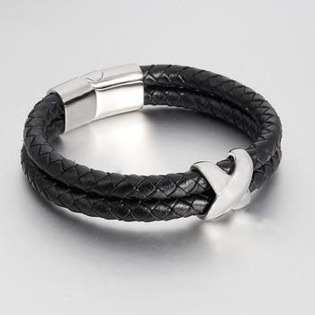 272e7652568e Pulsera para hombre tejida a mano doble pulsera de cuero múltiple para  hombre cuerda trenzada pulsera de alta calidad joyería