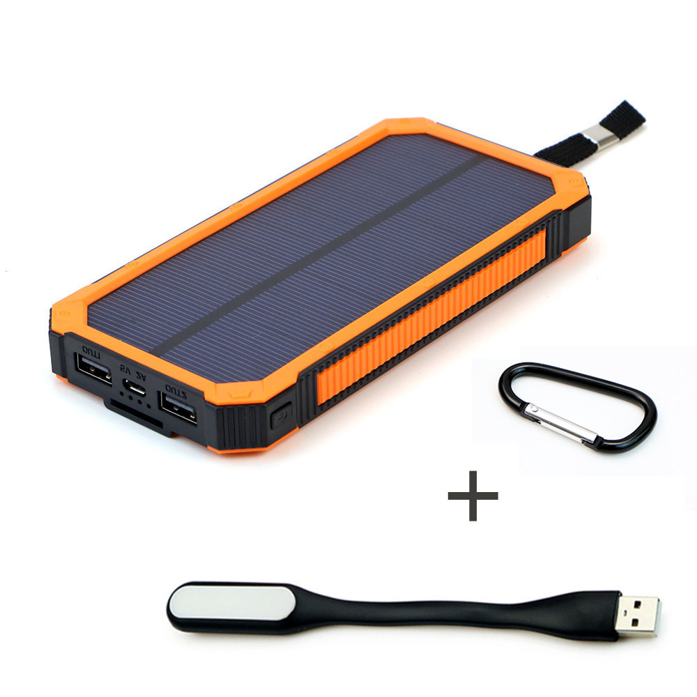 Portable Solar Panel Power Bank 15000mAh Solar External Battery Outdoor Waterproof Dual USB Power Portable Mobile Phone Charger bp 15000mah 1 1lcd high quality portable mobile power bank for iphone 5s samsung htc