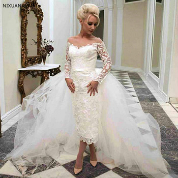 2020 Elegant Vestido De Noiva Appliques Long Sleeve Wedding Dresses with Detachable Skirt Wedding Dresses Short Front Long Back