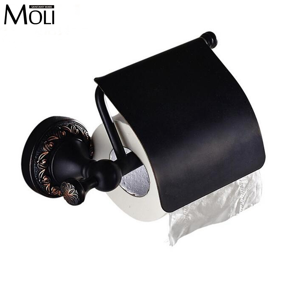 new design toilet paper holder with lid toilet roll box tissue holder wall mount rack black