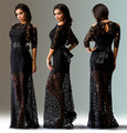 Sexy Blue Summer Elegant O Neck Long Lace Sleeve Fitted dress Women Fashion Slimming Split Maxi Dress