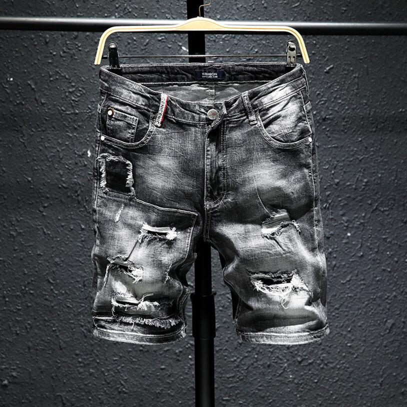 Men Gray Denim   Shorts   New Summer Holes Black   Short   Jeans High Quality Men Cotton Stretch Jean   Shorts   Knee Length Jeans Size 36