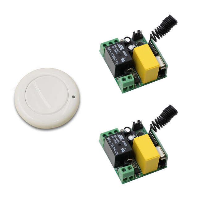 Portable Ac220v 1 Ch Wireless Remote Control Lighting Switch System Mini Receiver And Wall Round Transmitter